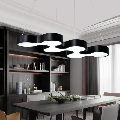 Restaurant Office Slim Panel Ceiling Lamp Acrylic Creative Black/White LED Hanging Light