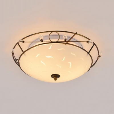 Rustic Style Flush Ceiling Light with Dome Shade 2 Lights Glass Light Fixture with Crystal for Foyer