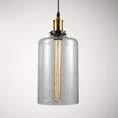 Simple Style Pendant Light Clear Glass Single Light Ceiling Pendant for Dining Table Cafe