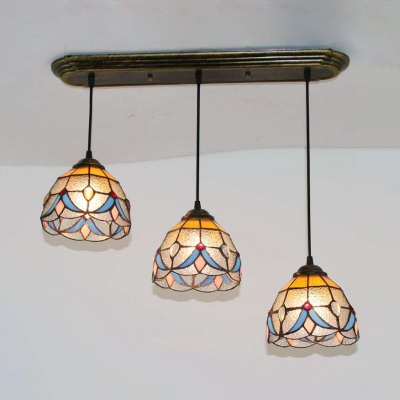 Stained Glass Bowl Suspension Light Dining Table 3 Heads Tiffany Antique Ceiling Pendant