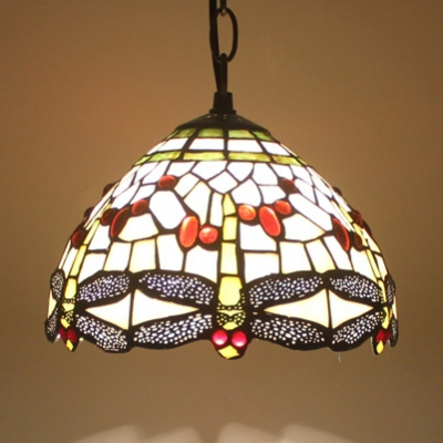 Stained Glass Dragonfly Ceiling Pendant Restaurant Single Light Tiffany Rustic Hanging Light