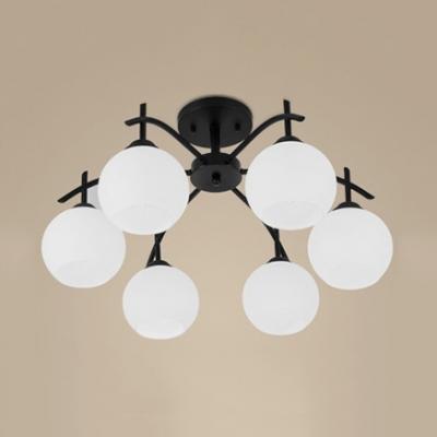 White Globe Shade Semi Flush Mount Light 3/5/6 Lights Metal Open Frosted Glass Ceiling Light for Restaurant Shop