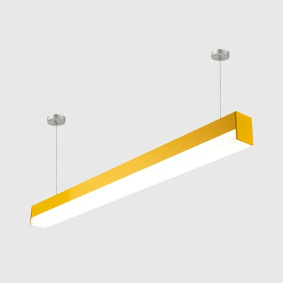 1/4 Pack Acrylic Linear Ceiling Light Modern Eye-Caring LED Suspension Light in Yellow for Shop