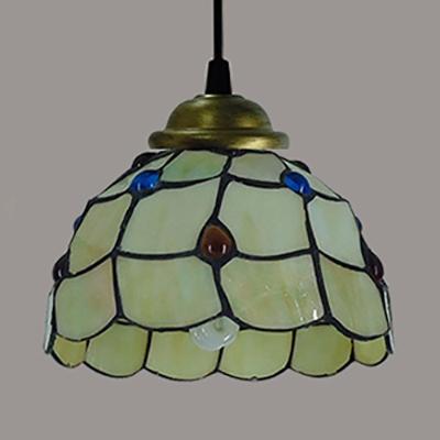 1 Light Down Lighting Pendant Light Tiffany Style Vintage Glass Suspension Light for Restaurant