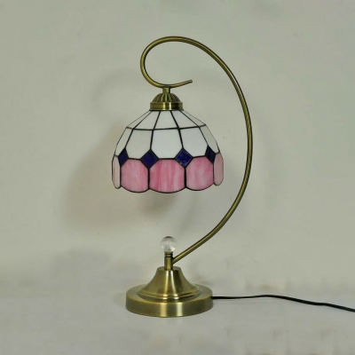 1 Light Grid Bowl Desk Light Tiffany Simple Style Art Glass Table Light in Blue/Pink for Bedside Table