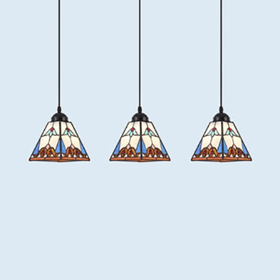 3 Heads Conical/Domed Pendant Light Tiffany Style Stained Glass Ceiling Light for Restaurant