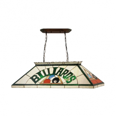 Tiffany Creative Billiards Island Pendant Stained Glass 6 Lights Green