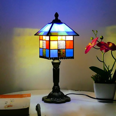 Tiffany Creative Multi-Color Desk Light House Shape One Light Glass Resin Table Light for Study Room