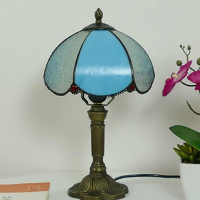 Beige/Blue/Pink Desk Light 1 Head Tiffany Rustic Art Glass Desk Lamp with Plug-In Cord for Hotel