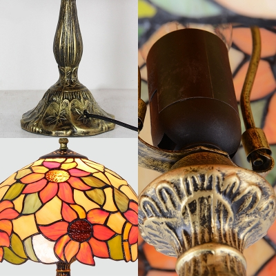 1 Light Umbrella Desk Light Rustic Style Stained Glass Table Lamp with Sunflower for Villa