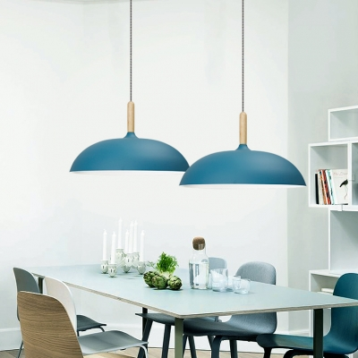Metal Saucer Shade Hanging Lamp Living Room Cafe 1 Head Modern Candy Colored Pendant Light