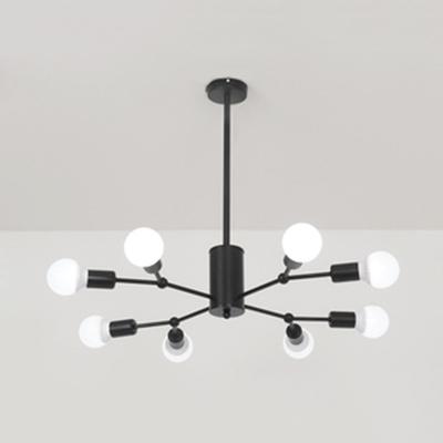 Black/Gold Snowflake Pendant Light 6/8 Lights Metal Chandelier for Dining Room Bedroom