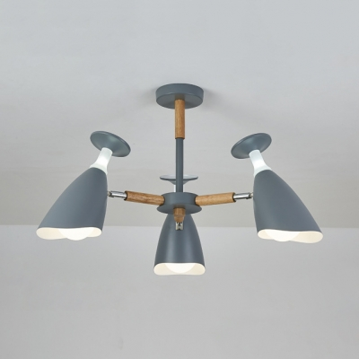 Goblet Shape Cafe Kitchen Chandelier Metal 3/6 Lights Nordic Stylish Ceiling Pendant in Gray/Green/White