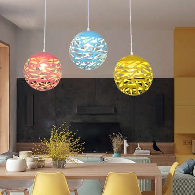 Candy Colored Etched Orb Hanging Light One Light Nordic Stylish Metal Pendant Light for Child Bedroom