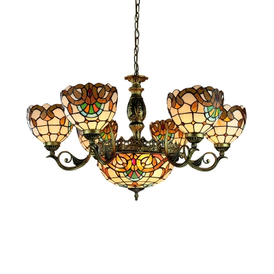 9 Lights Dome Hanging Lamp Tiffany Style Victorian Stained Glass Chandelier for Living Room