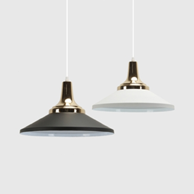 Aluminum Conical Shade Suspension Light 1 Light Simple Style Hanging Light in Black/White for Bedroom