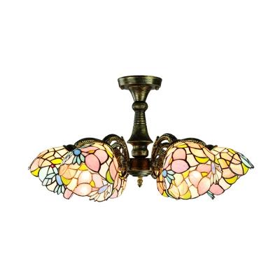Antique Leaf/Peacock Tail/Flower Semi Ceiling Mount Light 6 Lights Glass Ceiling Fixture for Restaurant