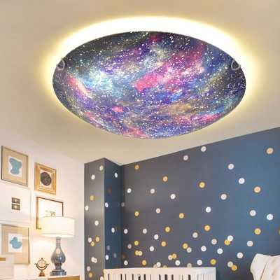 Beautiful Colorful LED Ceiling Mount Light Universe Glass Flush Light in Warm/White for Kid Bedroom