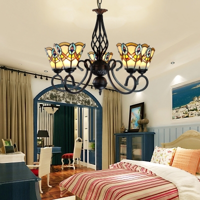 Bedroom Shop Conical Pendant Lamp Stained Glass 5 Lights Tiffany Style Vintage Chandelier