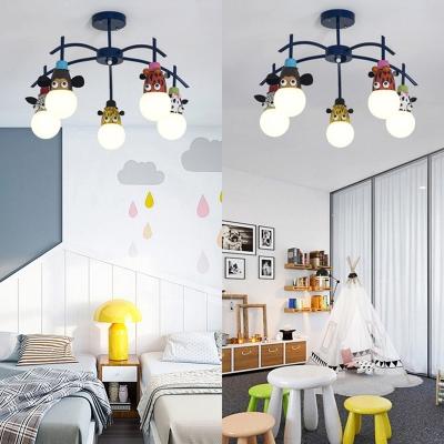 Boy Girl Bedroom Animal Ceiling Light Metal 3/5 Lights Creative Dark Blue Light Fixture