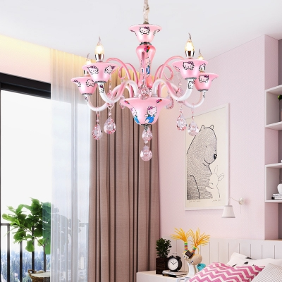 Cartoon Character Chandelier with Crystal Decoration 5 Lights Lovely Pendant Light in Pink for Girl Bedroom
