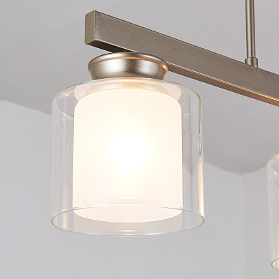 Cylinder Dining Room Island Light Glass & Metal 3/4 Lights Traditional Pendant Lighting