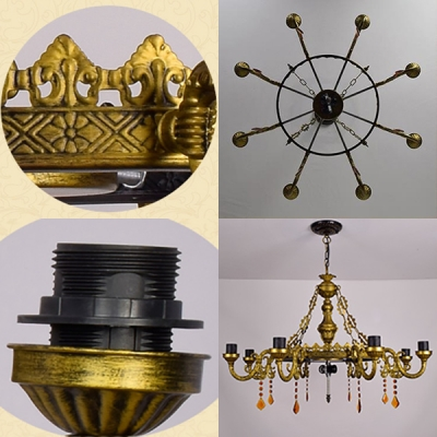 Dome Shade Suspension Light with Parrot 9 Lights Tiffany Style Stained Glass Chandelier for Restaurant