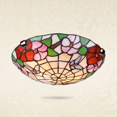 Floral Theme Domed Flushmount Light Rustic Stylish Stained Glass Ceiling Light for Villa