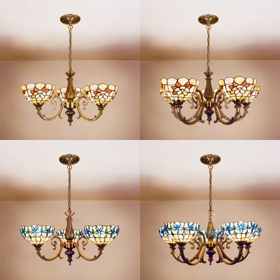 Glass Dome Shade Ceiling Light with Red/Blue Flower Bedroom 3/8 Lights Tiffany Style Chandelier HL529324 фото