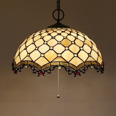 Glass Lattice Bowl Pendant Light with Beads Cafe 16 Inch Antique Style Pendant Lamp with Pull Chain