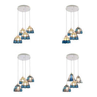 Glass Lattice Dome Hanging Lamp Dining Room 4 Lights Mediterranean Style Pendant Light in Blue