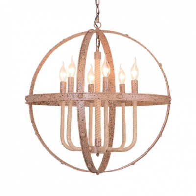 Globe Living Room Chandelier with Fake Candle Metal 6/8 Lights Vintage Style Pendant Light in Rust