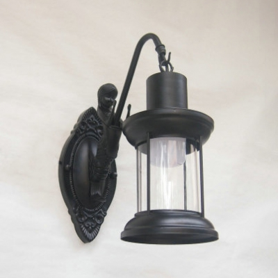 Industrial Mermaid Wall Light Metal 1 Light Aged Brass/Antique Copper/Black Sconce for Front Door