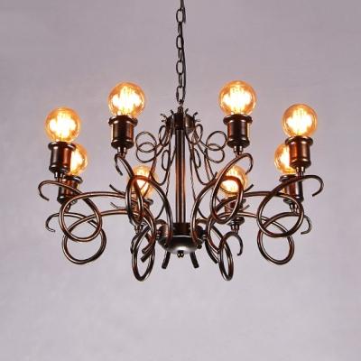 Living Room Open Bulb Chandelier Metal 8 Lights Vintage Style Rust Hanging Light