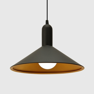 Modern Black Finish Pendant Light Conical/Domed Shade 1 Light Metal Suspension Light for Office