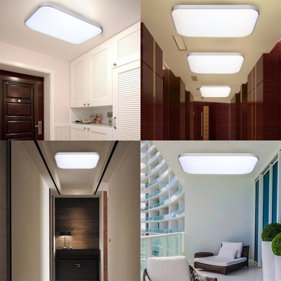 Modern Rectangle LED Ceiling Mount Light Acrylic Dusk to Dawn Sensor & Sound Activated Flush Light