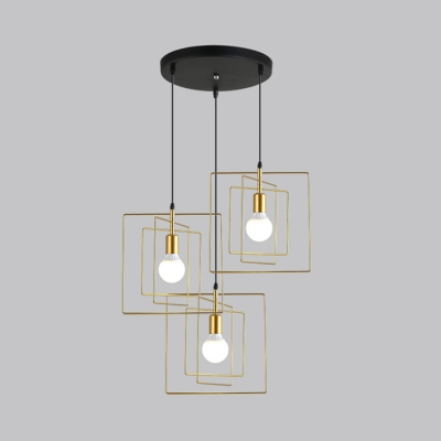 modern wire frame pendant lamp 3 lights metal linear round canopy Canopy Lighting Designs