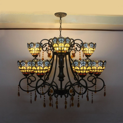 Stained Glass Dome Shade Chandelier Tiffany Style Antique Hanging Lamp with Amber Crystal for Hotel