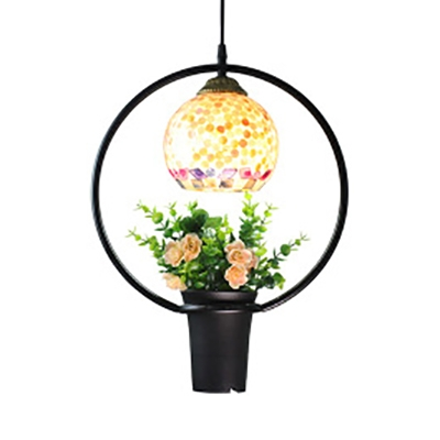 Tiffany Rustic Colorful Ceiling Light with Flower Pot 1 Light Glass Metal Hanging Lamp for Bar