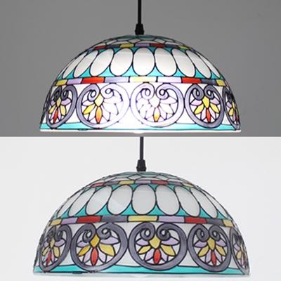Tiffany Style Blue/White Pendant Light Bowl Shade 12 Inch Glass Hanging Light for Restaurant