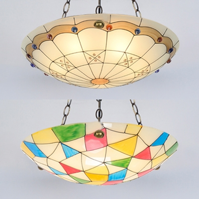Tiffany Style Dome Chandelier Stained Glass 5 Lights 19.5 Inch Hanging Light for Living Room