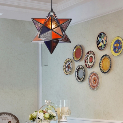 Tiffany Style Pendant Light Star Shade 1 Light Dimple/Stained Glass Ceiling Light for Bedroom