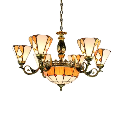 Tiffany Style Rustic Yellow Chandelier Cone Dome 9 Lights Art Glass Suspension Light for Villa