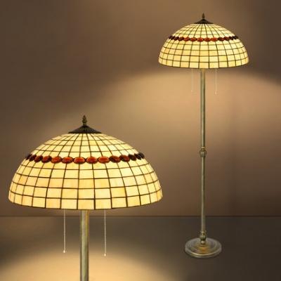 Tiffany Vintage Colorful Floor Lamp Flower/Lattice/Leaf Glass Standing Light for Hotel Villa