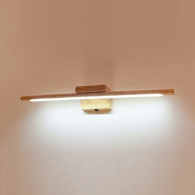 Tube Dressing Room Wall Light Wood 23.5 Inch Waterproof Modern LED Vanity Light in Warm/White