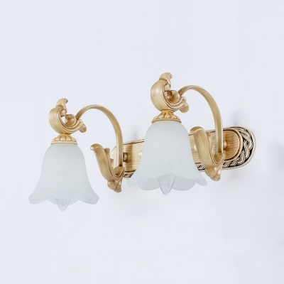 Vintage Style Flower Engraved Wall Sconce 1/2/3 Lights Opal Glass Vanity Lighting for Mirror