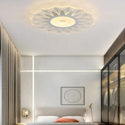 White Heart/Leaf LED Ceiling Mount Light Creative Acrylic Flush Light in Warm/White for Bedroom