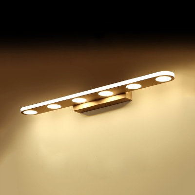 White Oval LED Vanity Light 4/6 Heads Aluminum Antifogging Wall Light in Warm/White for Bathroom