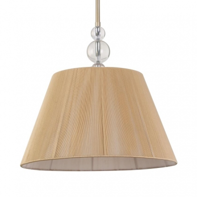 1 Light Tapered Suspension Light Rustic Style Fabric Hanging Light in Beige for Dining Room