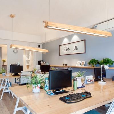 2 Size Option Wood Linear Suspension Light Modern Beige LED Ceiling Lihgt in Warm/White for Bedroom
